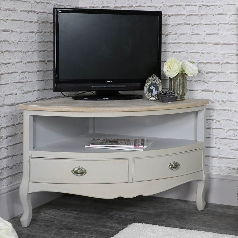 Compton Ivory Corner Tv Stands With Baskets Throughout Most Current Corner Tv Unit – Albi Range – Melody Maison® (View 3 of 25)