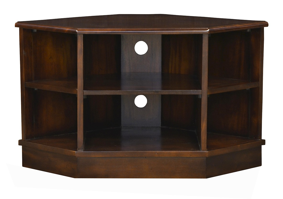 Compton Ivory Corner Tv Stands With Baskets With Popular Open Corner Tv Unit – Chestnut – Island Furniture Co (View 19 of 25)
