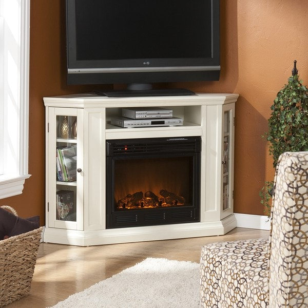 Compton Ivory Extra Wide Tv Stands Within 2018 Belvedere Ivory Media Console Fireplace (View 17 of 25)