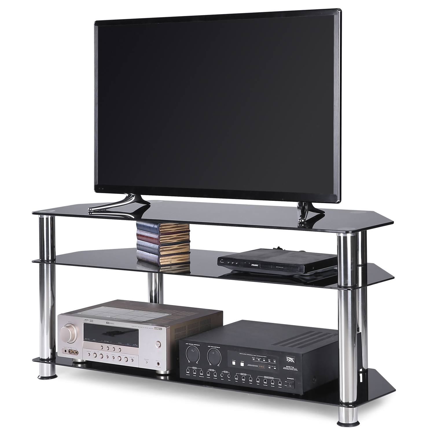 """Contemporary Black Corner Glass Tv Stand For Tvs Up To 55 For Fashionable Lansing Tv Stands For Tvs Up To 50"""" (View 17 of 25)"""