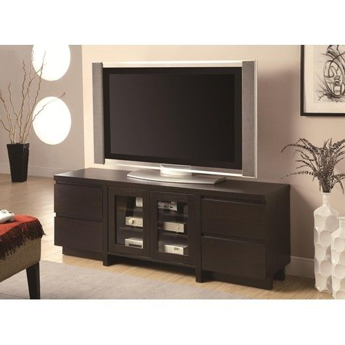 Contemporary Tv Console With 4 Drawers & 2 Glass Doors With Regard To Fashionable Dark Brown Tv Cabinets With 2 Sliding Doors And Drawer (View 2 of 10)