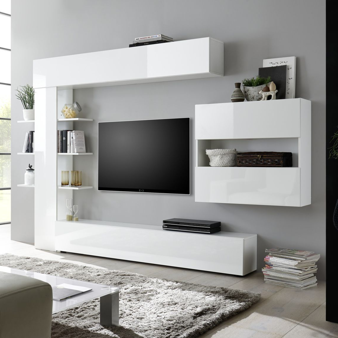Contemporary Tv Wall Unit – Sorano – Lc Spa – Oak With Preferred High Glass Modern Entertainment Tv Stands For Living Room Bedroom (View 4 of 10)