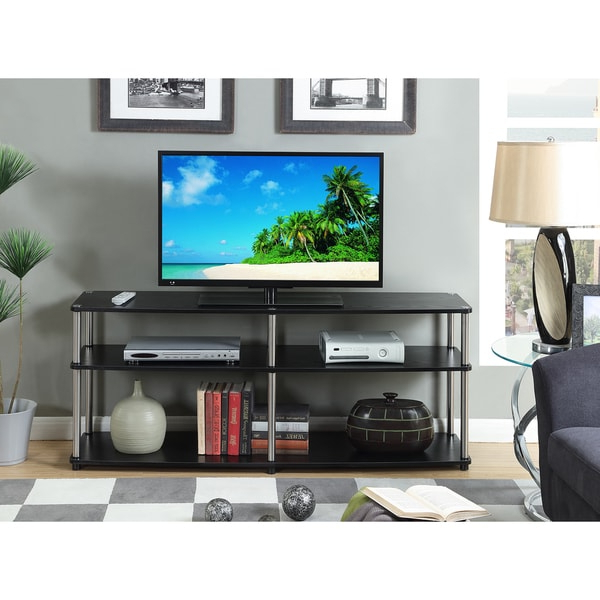Convenience Concepts Designs 2go Black Stainless Steel 3 Within Famous Tier Entertainment Tv Stands In Black (View 4 of 10)