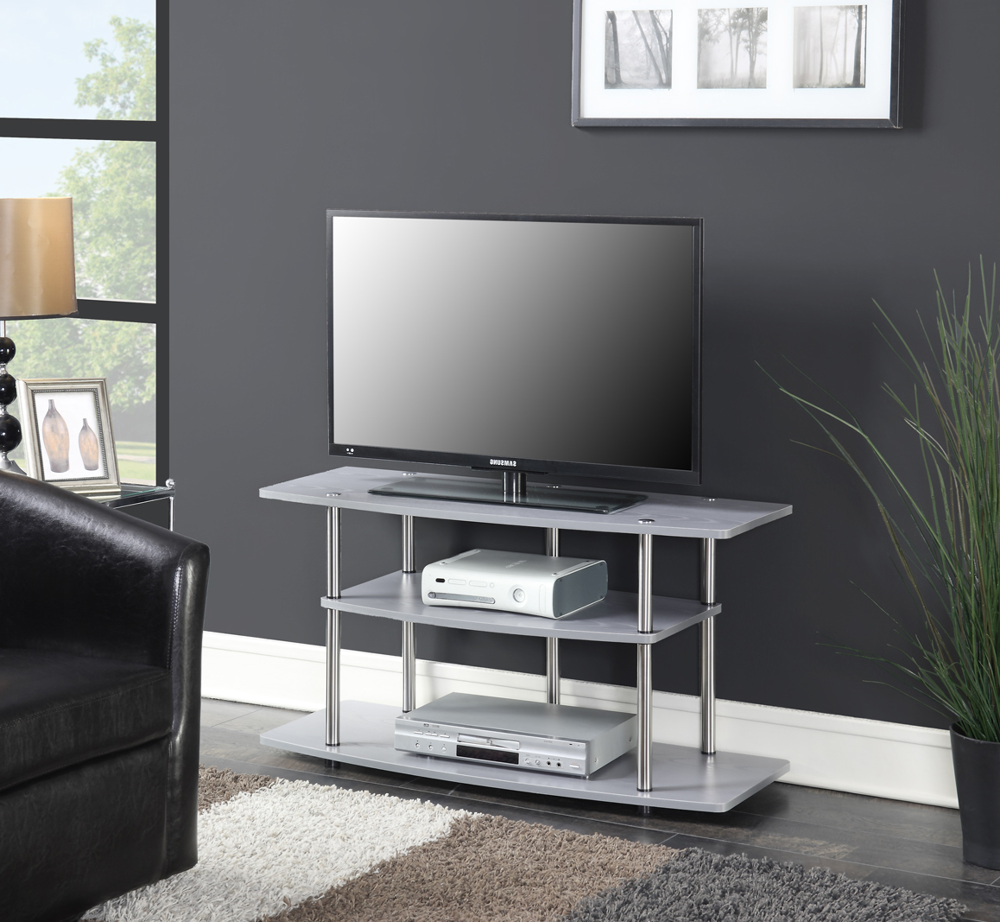 Convenience Concepts Designs2go No Tools 3 Tier Wide Tv Pertaining To Best And Newest Harbor Wide Tv Stands (View 7 of 25)