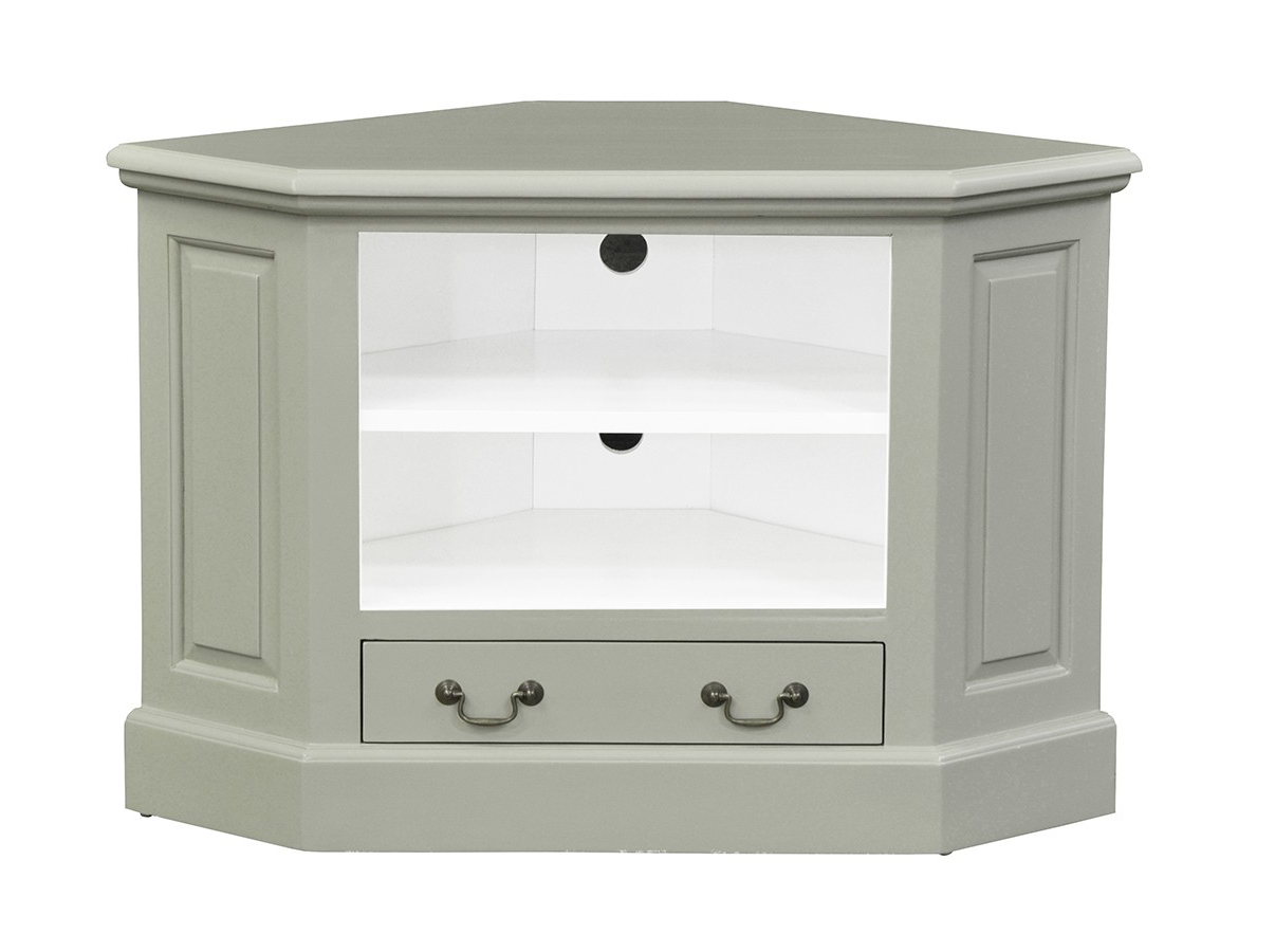 Corner Tv Unit – Single Drawer – French Ivory – Island With Regard To Most Current Compton Ivory Corner Tv Stands With Baskets (View 11 of 25)