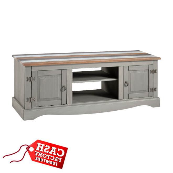 Corona Grey Corner Tv Stands In 2018 Corona Vintage Large Tv Unit – Cash Factory Furniture (View 5 of 10)