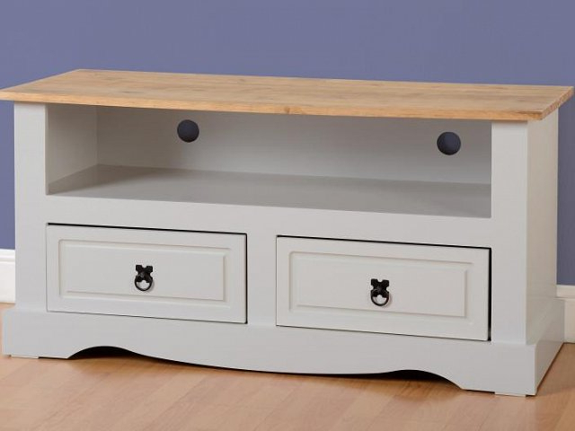 Corona Grey Corner Tv Stands With Regard To Most Current Grey Corona 2 Drawer Flat Screen Tv Unit At Ex Catalogue (View 4 of 10)