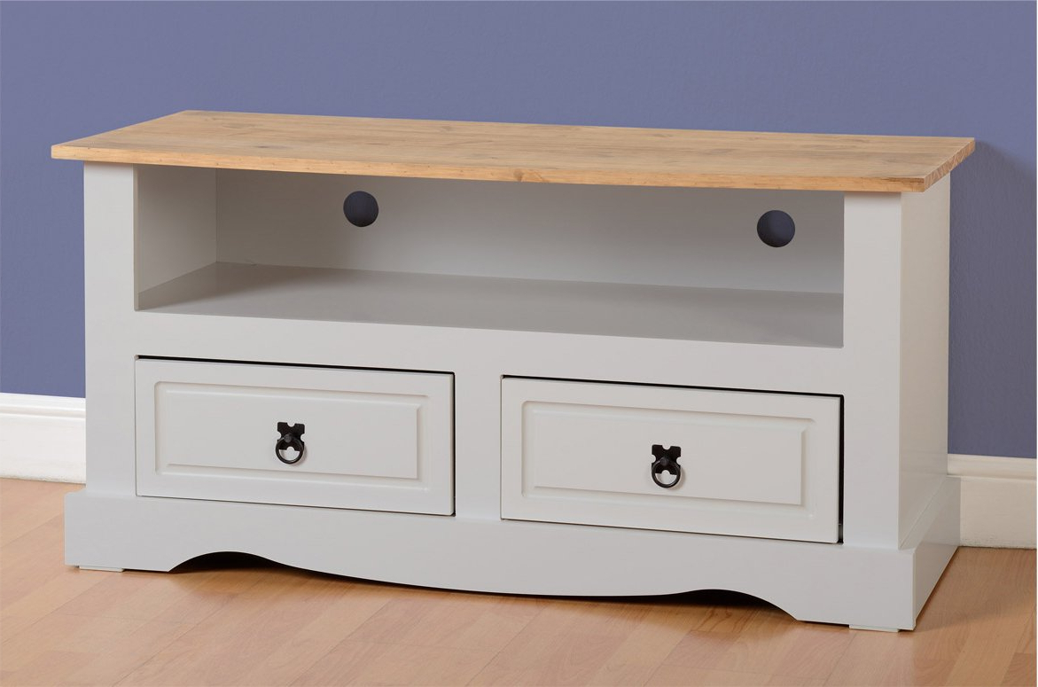 Corona Grey Corner Tv Stands With Regard To Well Known Seconique Corona 2 Drawer Tv Unit – Grey (View 2 of 10)