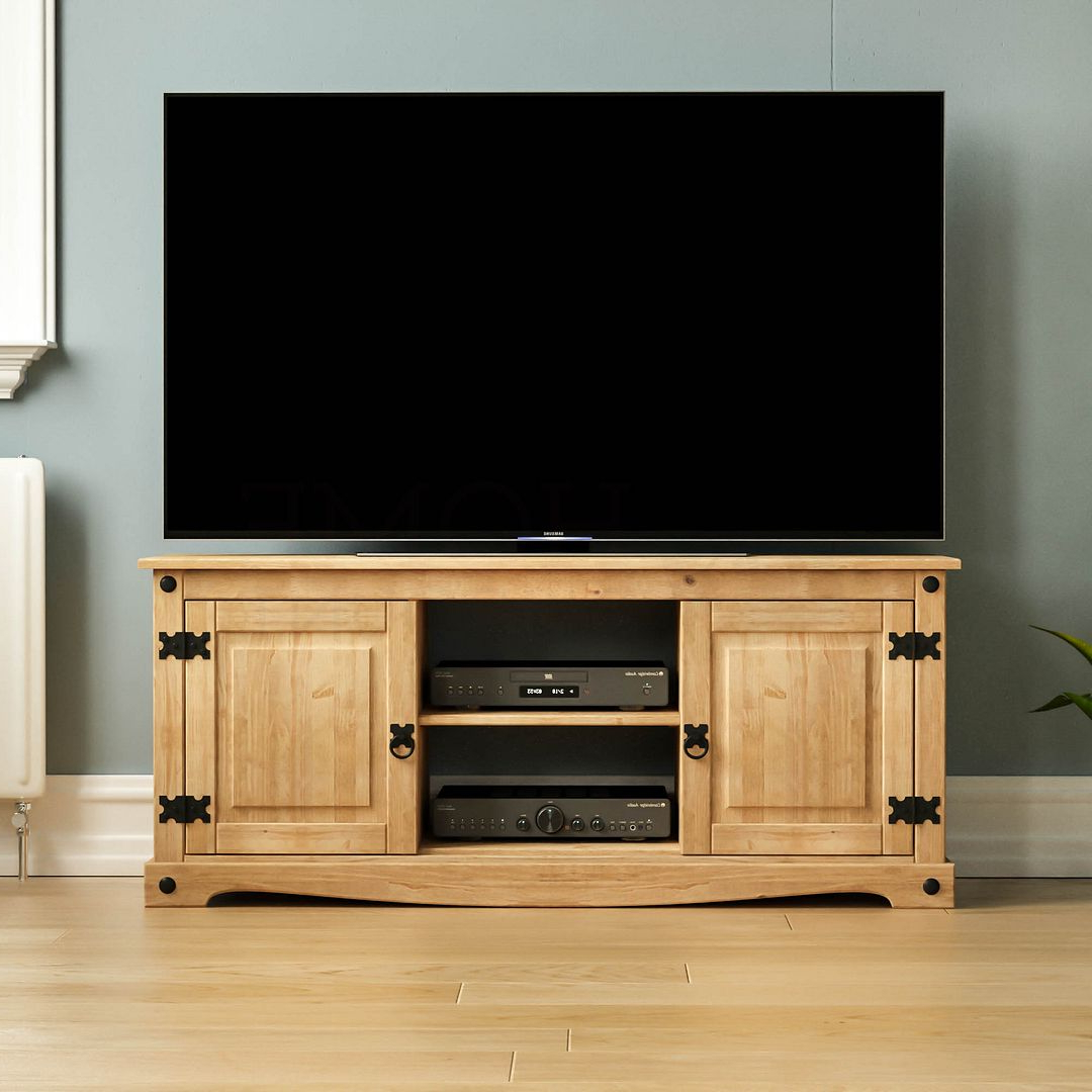 Corona Panama Tv Cabinet Media Dvd Unit Solid Pine Wood Pertaining To Most Current Corona Grey Flat Screen Tv Unit Stands (View 4 of 10)