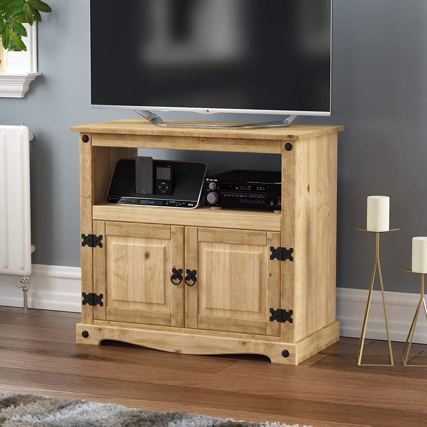 Corona Pine 2 Door 1 Shelf Flat Screen Tv Unit Stands With 2018 Vida Designs Corona Tv Cabinet, Straight Unit, Stand With (View 9 of 10)