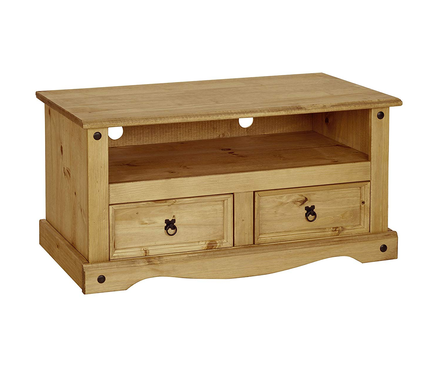 Corona Tv Stands Throughout Most Recently Released H4home Rustic Wooden Tv Stand Unit With 2 Drawers Solid (View 1 of 10)