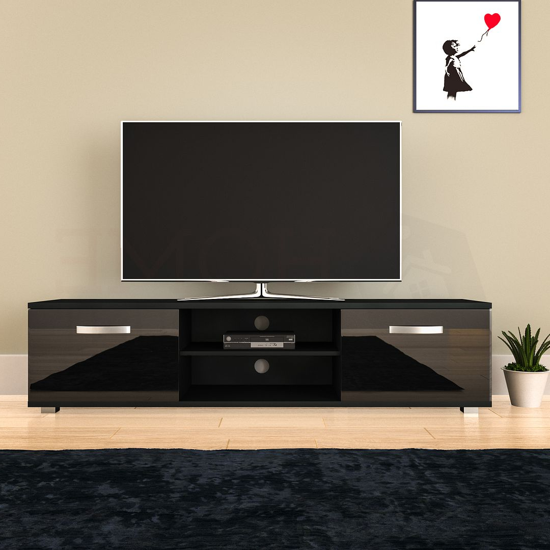 Cosmo Led Tv Cabinet Stand Unit 2 Door Gloss Matte Mdf Regarding Favorite 57'' Led Tv Stands With Rgb Led Light And Glass Shelves (View 5 of 10)