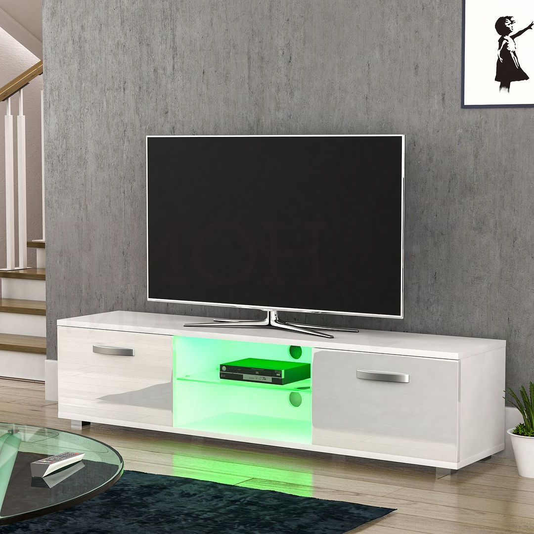 Cosmo Led Tv Cabinet Stand Unit 2 Door Gloss Matte Mdf Throughout Popular 57'' Led Tv Stands With Rgb Led Light And Glass Shelves (View 7 of 10)