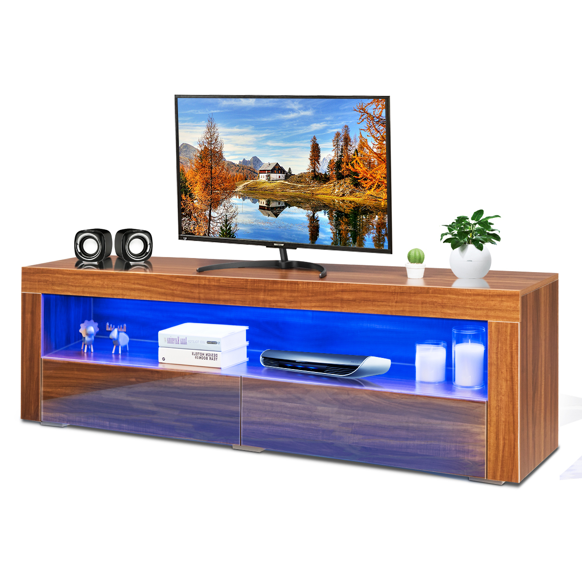 Costway High Gloss Tv Stand Media Entertainment W/led Inside Most Current Tv Stands Cabinet Media Console Shelves 2 Drawers With Led Light (View 9 of 10)