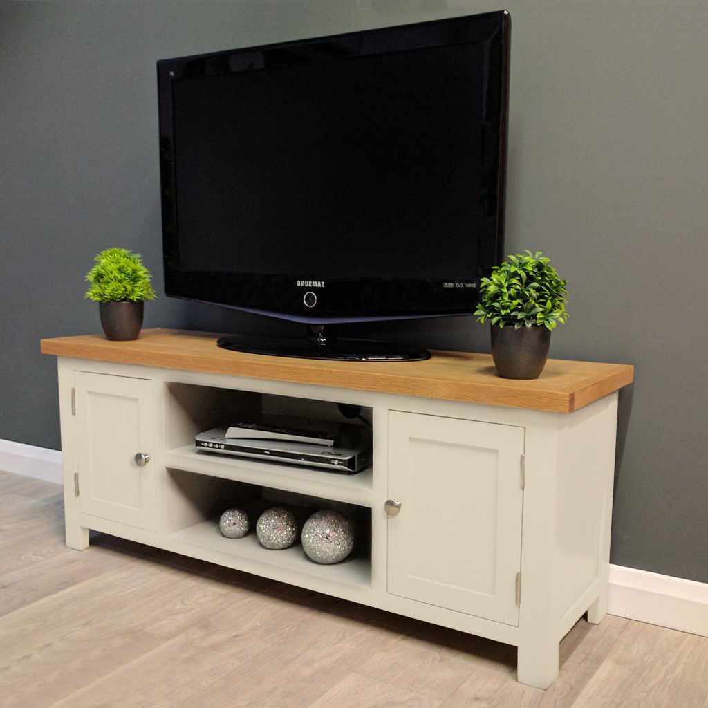 Cotswold Cream Painted Large Oak Tv Unit / Plasma / Solid For Well Known Cotswold Widescreen Tv Unit Stands (View 4 of 10)