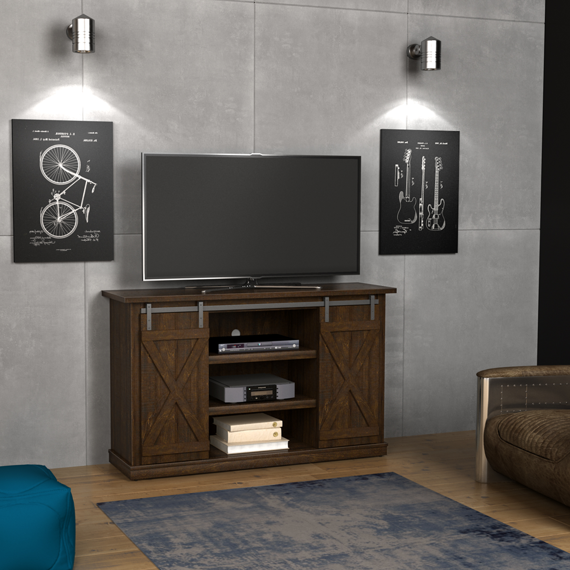 Cottonwood Tv Stand For Tvs Up To 60 Inches With Sliding With Regard To Most Recently Released Farmhouse Sliding Barn Door Tv Stands For 70 Inch Flat Screen (View 6 of 10)