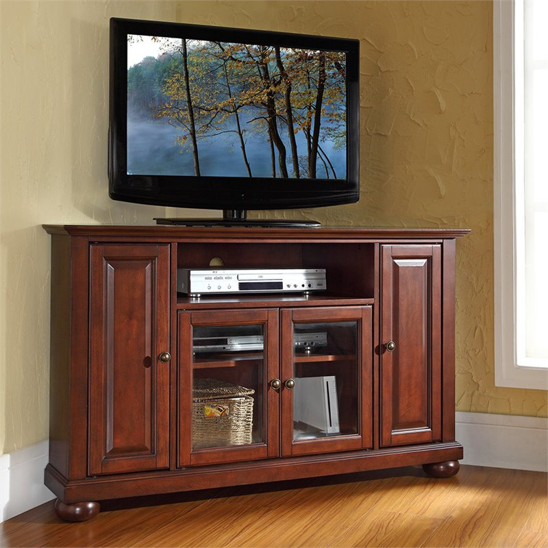 """Crosley Alexandria 48"""" Corner Tv Stand In Mahogany Pertaining To Most Recent Casey May Tv Stands For Tvs Up To 70"""" (View 8 of 25)"""