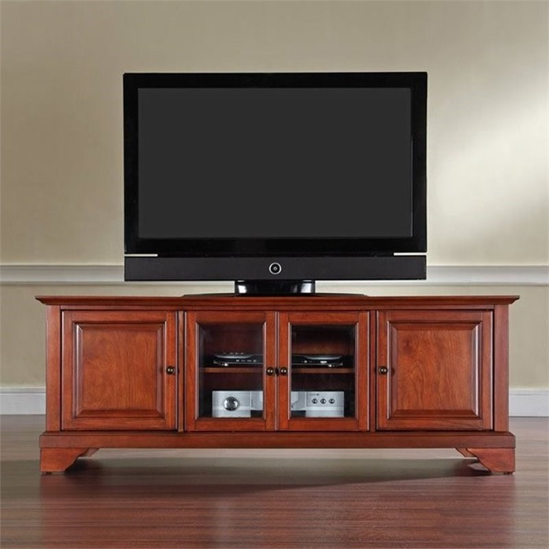 """Crosley Lafayette 60"""" Low Profile Tv Stand In Cherry Throughout Most Recently Released Margulies Tv Stands For Tvs Up To 60"""" (View 25 of 25)"""