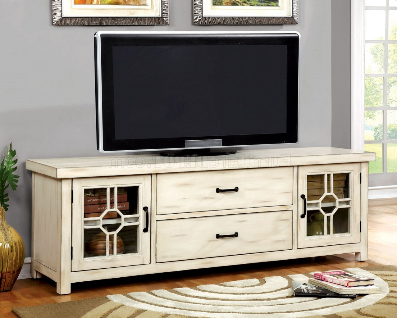 Current Alden Design Wooden Tv Stands With Storage Cabinet Espresso Intended For Ridley Cm5230 Tv Console In Antique Style White W/optional (View 5 of 10)