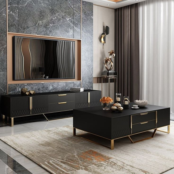 """Current Ansel Tv Stands For Tvs Up To 78"""" In Aro Modern Stylish Black Tv Stand Rectangle Tv Stand Tv (View 23 of 25)"""
