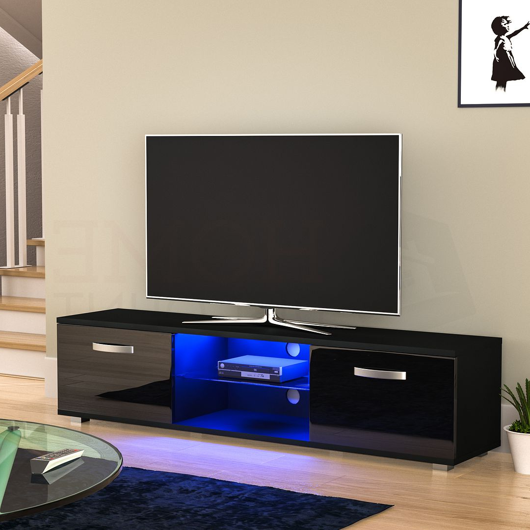 Current Carbon Tv Unit Stands In Cosmo Led Tv Unit 2 Door Stand Cabinet Furniture Matte (View 4 of 10)