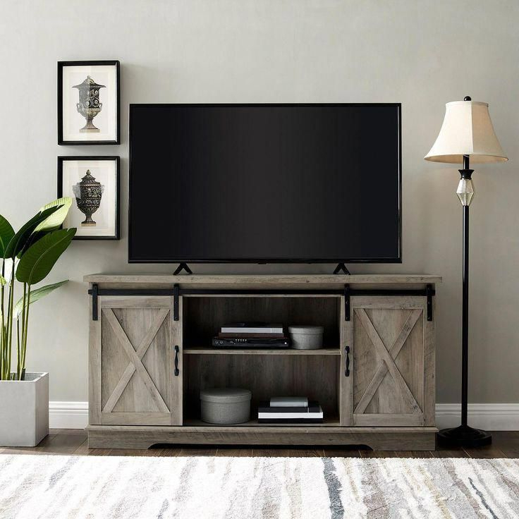 """Current Farmhouse Graywash Sliding Barn Door 58"""" Tv Stand In 2020 With Regard To Modern Farmhouse Style 58"""" Tv Stands With Sliding Barn Door (View 10 of 10)"""