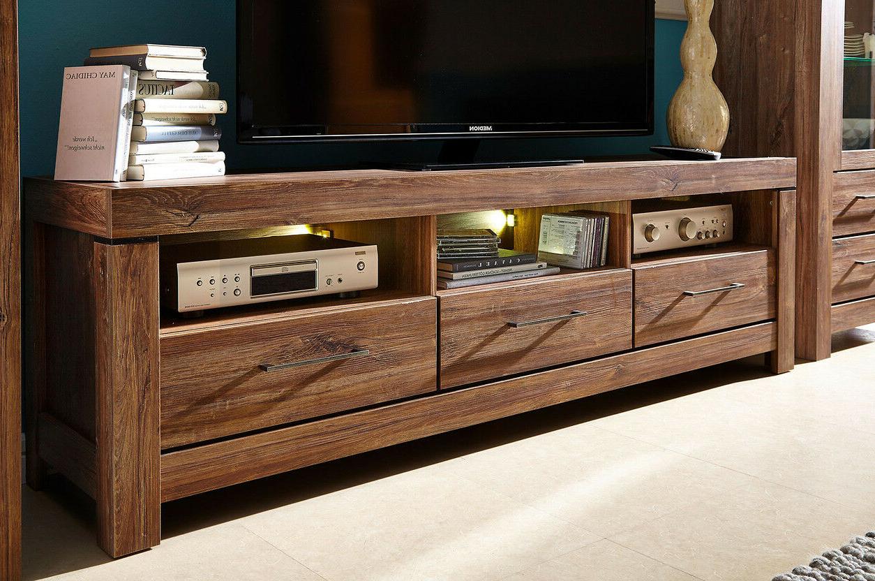 Current Fulton Oak Effect Wide Tv Stands Inside Modern Tv Cabinet Unit Led Light 3 Drawers Oak Effect Tv (View 1 of 10)