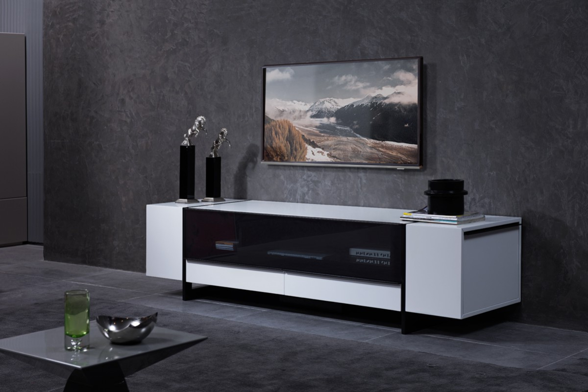 Current Hannu Tv Media Unit White Stands Within White Gloss Media Unit With Lots Of Storage Compartments (View 4 of 10)