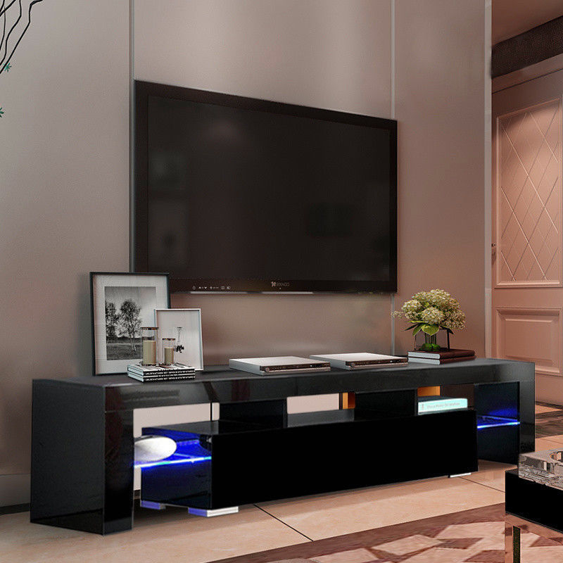 Current High Gloss Tv Stand Unit Cabinet W/led Shelves Drawers Throughout Tv Stands Cabinet Media Console Shelves 2 Drawers With Led Light (View 5 of 10)