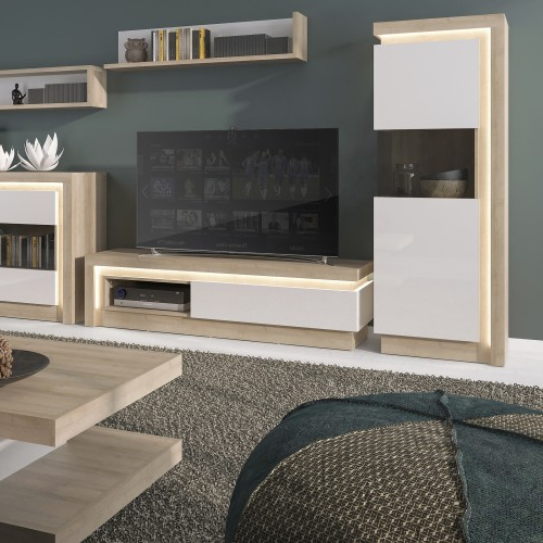 Current Lyon 1 Drawer Tv Cabinet With Open Shelf (including Led With Tv Stands With 2 Open Shelves 2 Drawers High Gloss Tv Unis (View 8 of 10)