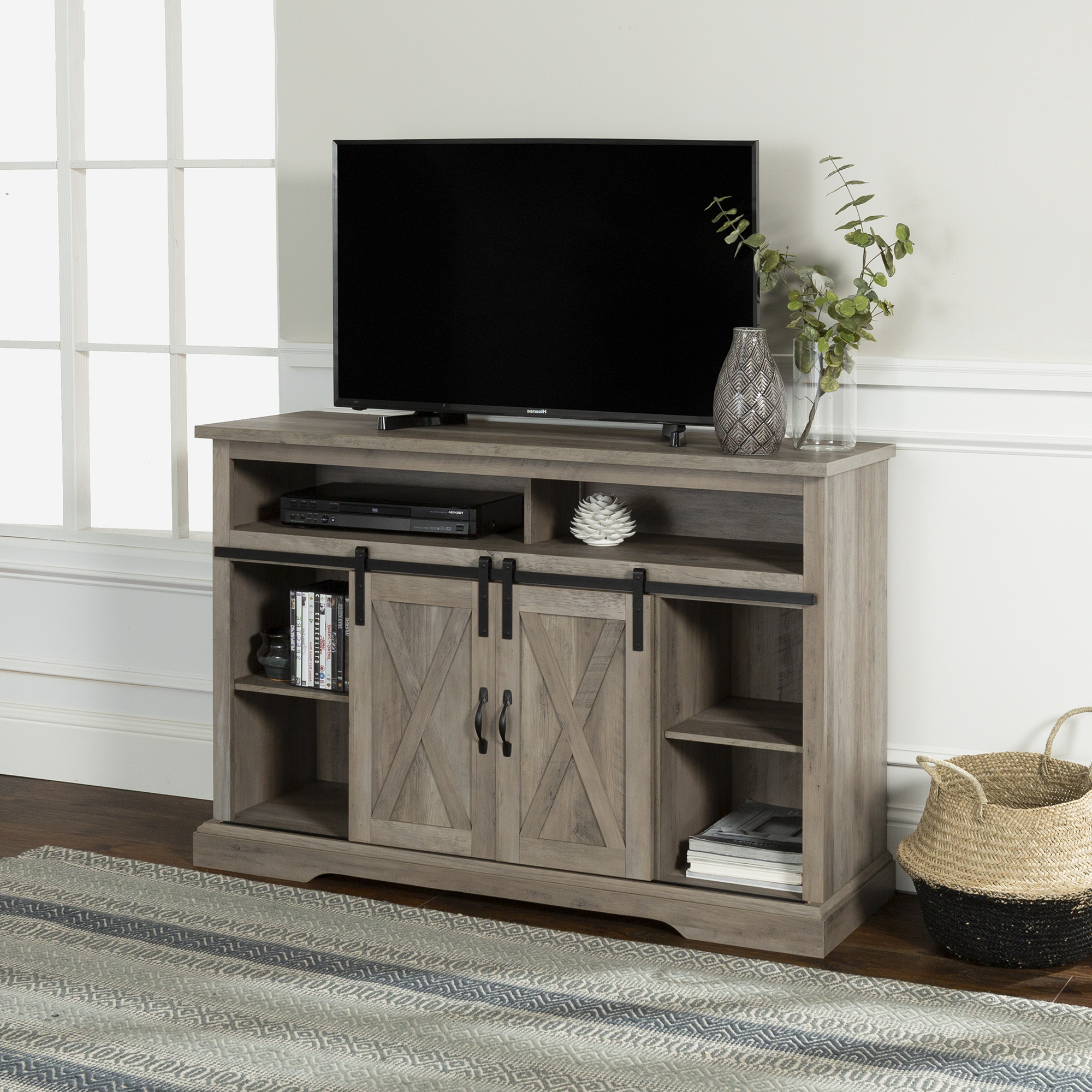 """Current Manor Park Farmhouse Barn Door Tv Stand For Tvs Up To 58 Regarding Kamari Tv Stands For Tvs Up To 58"""" (View 5 of 25)"""