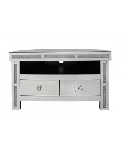 Current Milan Mirrored Diamond Corner Tv Cabinet Back In Stock End For Milan Glass Tv Stands (View 5 of 10)