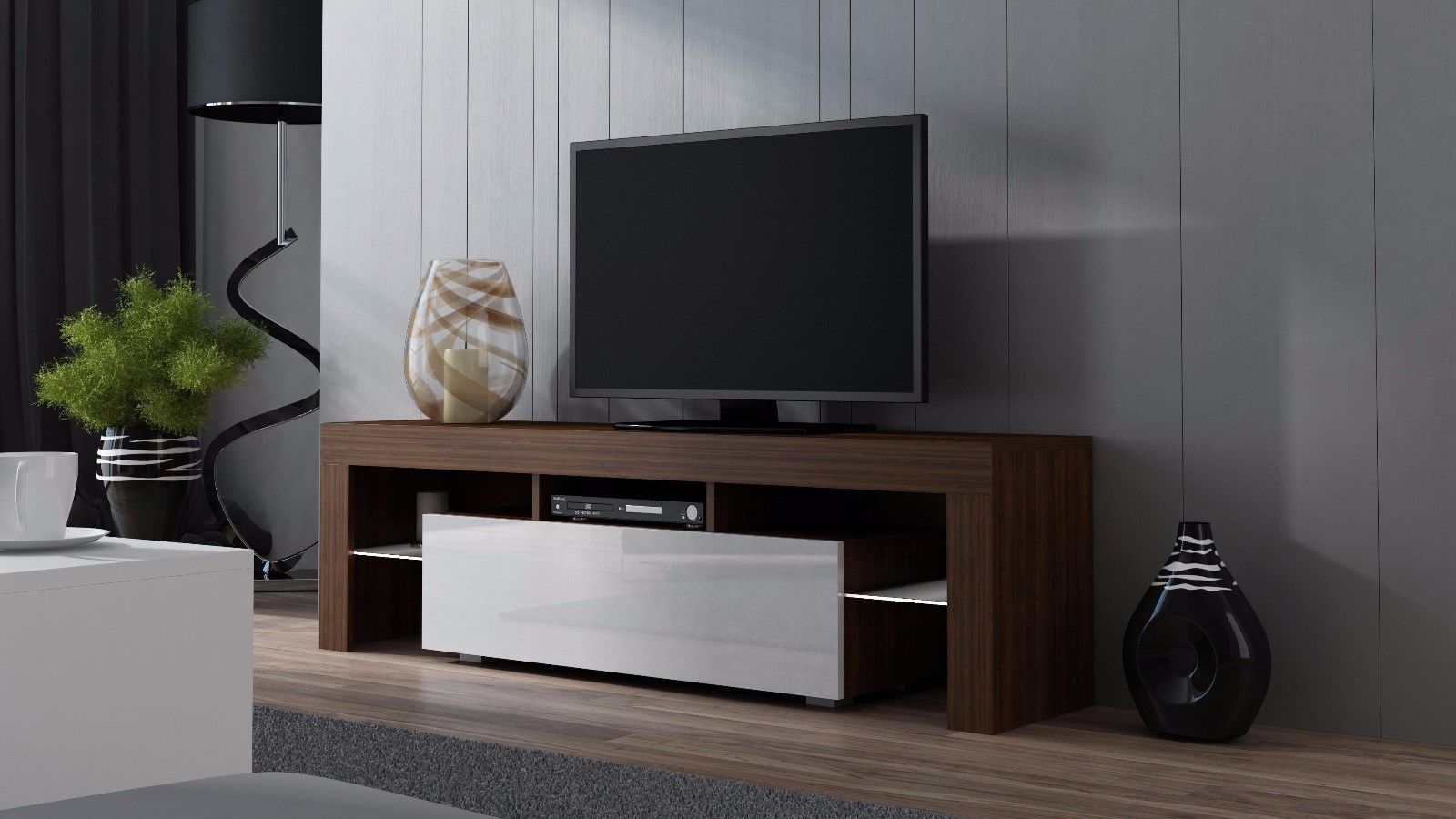 """Current Milano 160 Walnut Modern Tv Cabinets For Up To 70""""screens Within Milano 200 Wall Mounted Floating Led 79"""" Tv Stands (View 7 of 10)"""