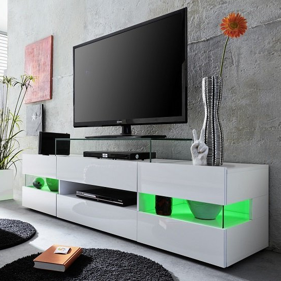 Current Milano White Tv Stands With Led Lights Within Kirsten Tv Stand In White With Gloss Fronts And Led  (View 9 of 25)