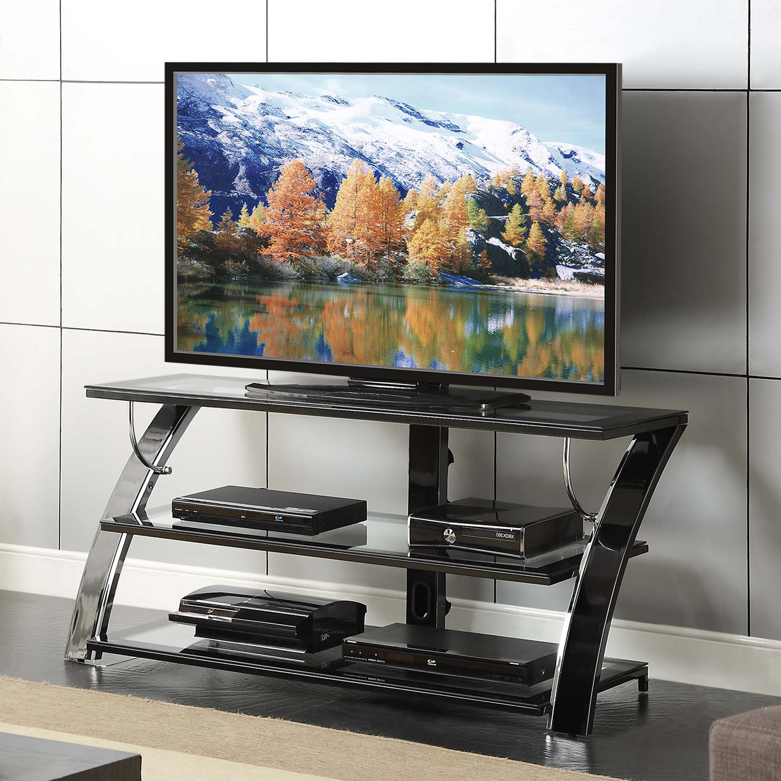Current Modern Black Tv Stands On Wheels With Whalen Camarillo 50 In (View 4 of 10)