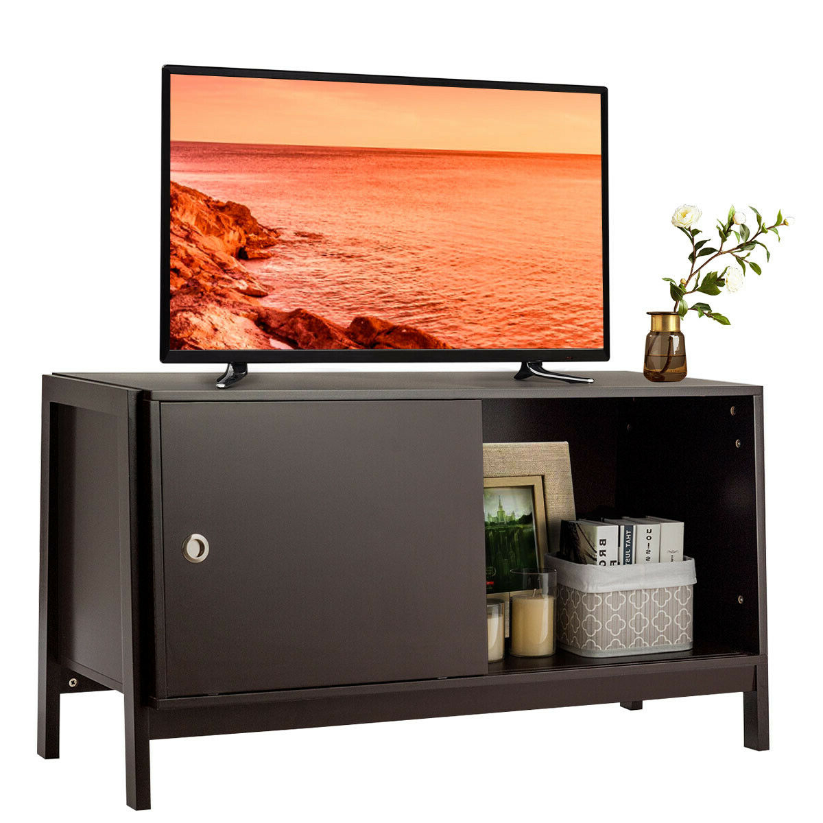 Current Modern Sliding Door Tv Stands Pertaining To Gymax Tv Stand Modern Entertainment Cabinet For Tv's Up To (View 4 of 10)