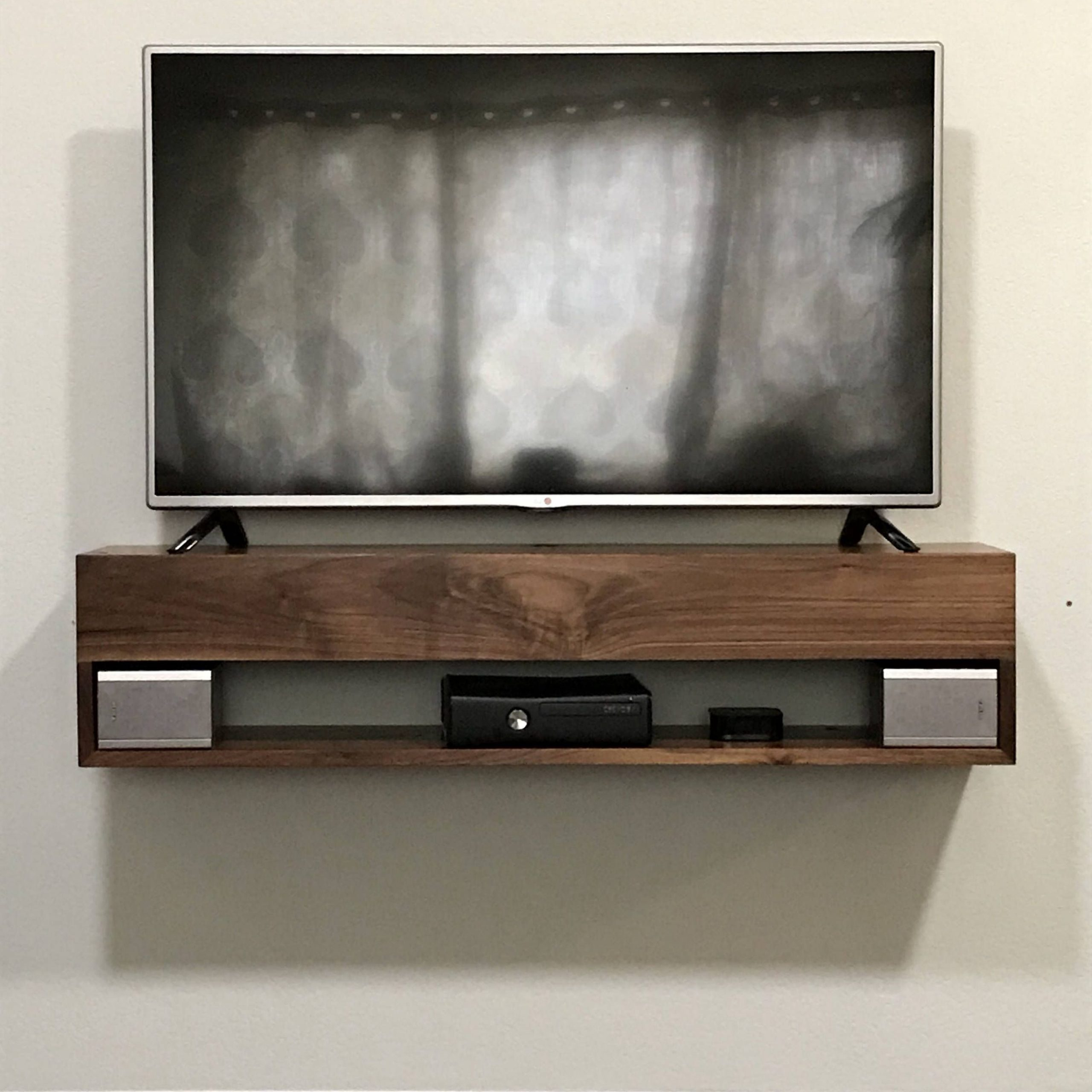 Current Solid Walnut Tv Console, Walnut Floating Tv Console Throughout Modern Tv Stands In Oak Wood And Black Accents With Storage Doors (View 9 of 10)