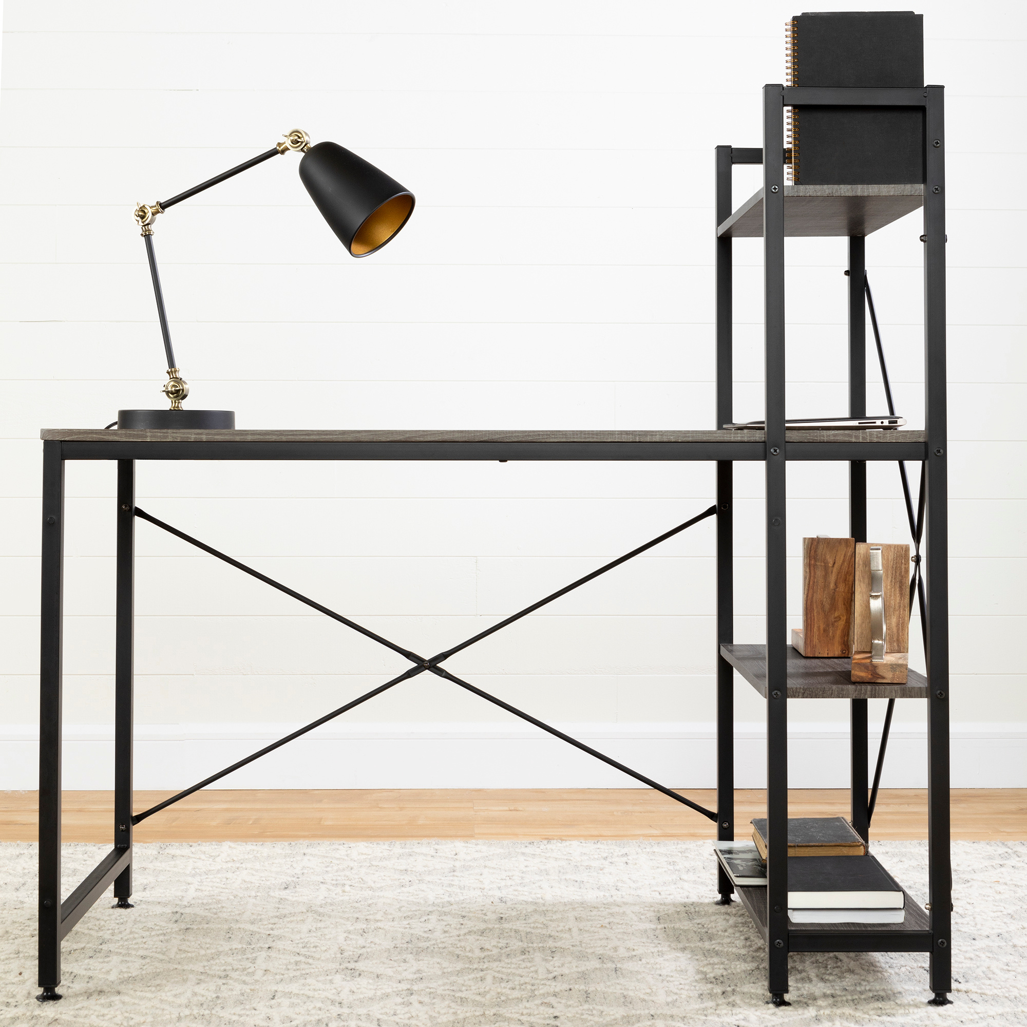 Current South Shore Evane Tv Stands With Doors In Oak Camel Pertaining To Evane Industrial Desk With Bookcase, Oak Camel – M2go (View 10 of 10)
