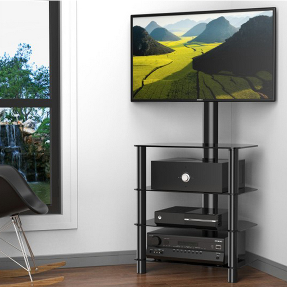 Current Swivel Floor Tv Stands Height Adjustable Within Fitueyes Corner Floor Tv Strand With Swivel Mount For  (View 6 of 10)