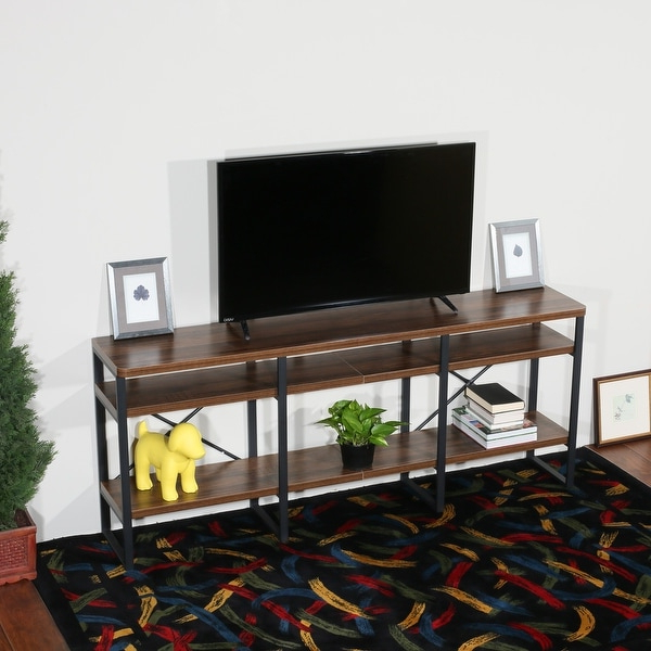 Current Tier Entertainment Tv Stands In Black Pertaining To Davee Furniture Open Antigue Wood Shelves 4 Tier (View 6 of 10)