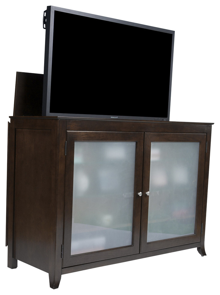 Current Tuscany Full Size Lift Cabinet, Espresso With Frosted Pertaining To Jackson Corner Tv Stands (View 13 of 25)