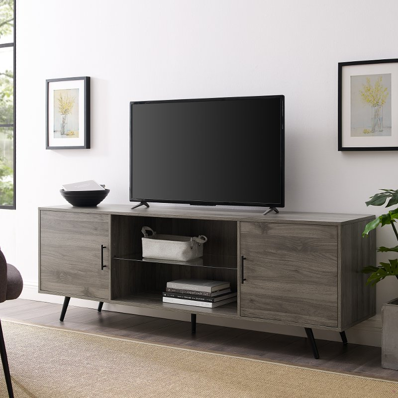 Delphi Grey Tv Stands In Famous Mid Century Modern 70 Inch Tv Stand – Slate Grey (View 10 of 25)