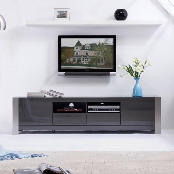 Delphi Grey Tv Stands Intended For Newest Shop 'maya' Grey High Gloss Stainless Steel Tv Stand (View 14 of 25)