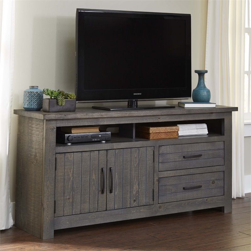 """Delphi Grey Tv Stands Pertaining To Fashionable Progressive Nest 64"""" Tv Stand In Distressed Dark Gray (View 22 of 25)"""