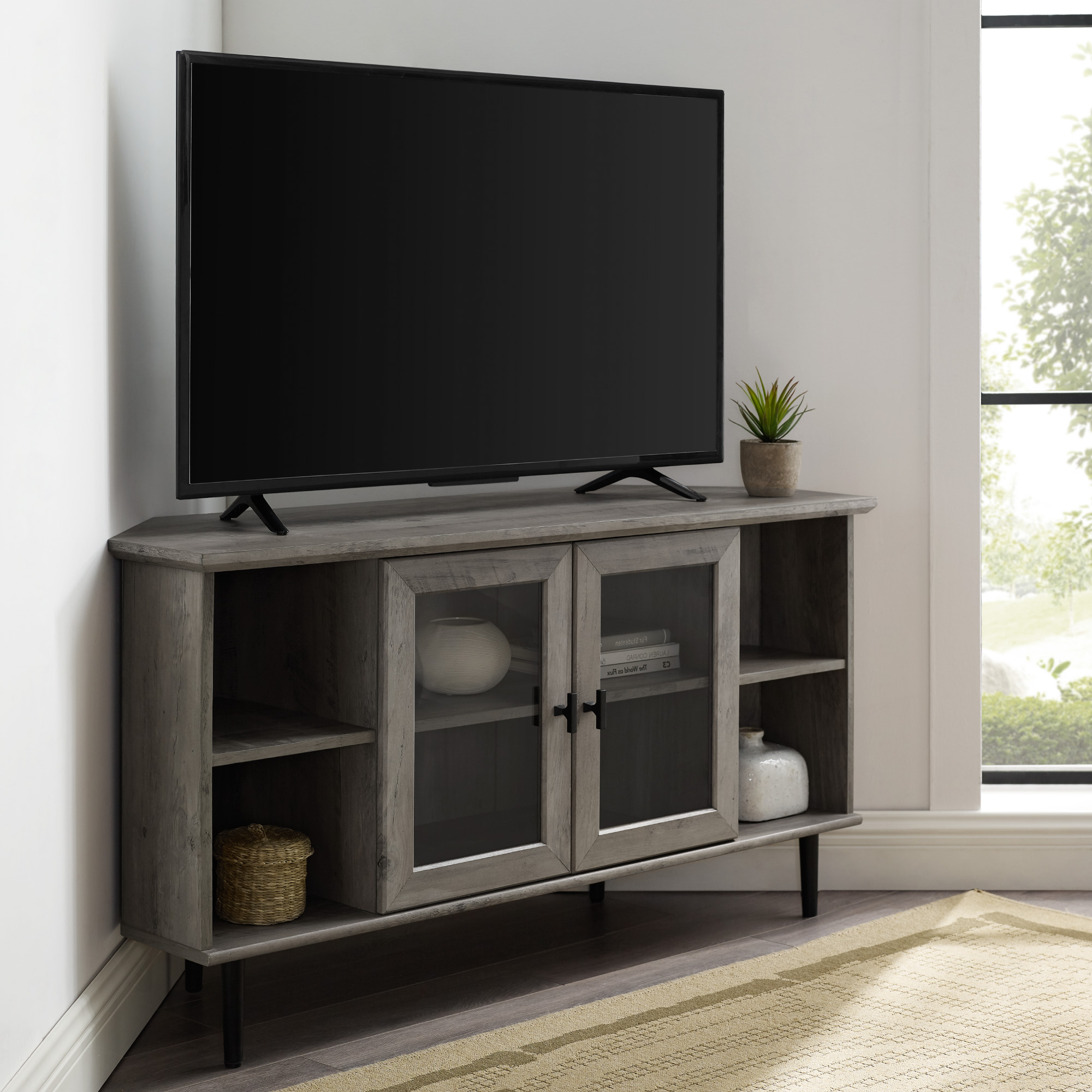 Delphi Grey Tv Stands With 2018 Manor Park Glass Door Corner Tv Stand For Tvs Up To  (View 1 of 25)