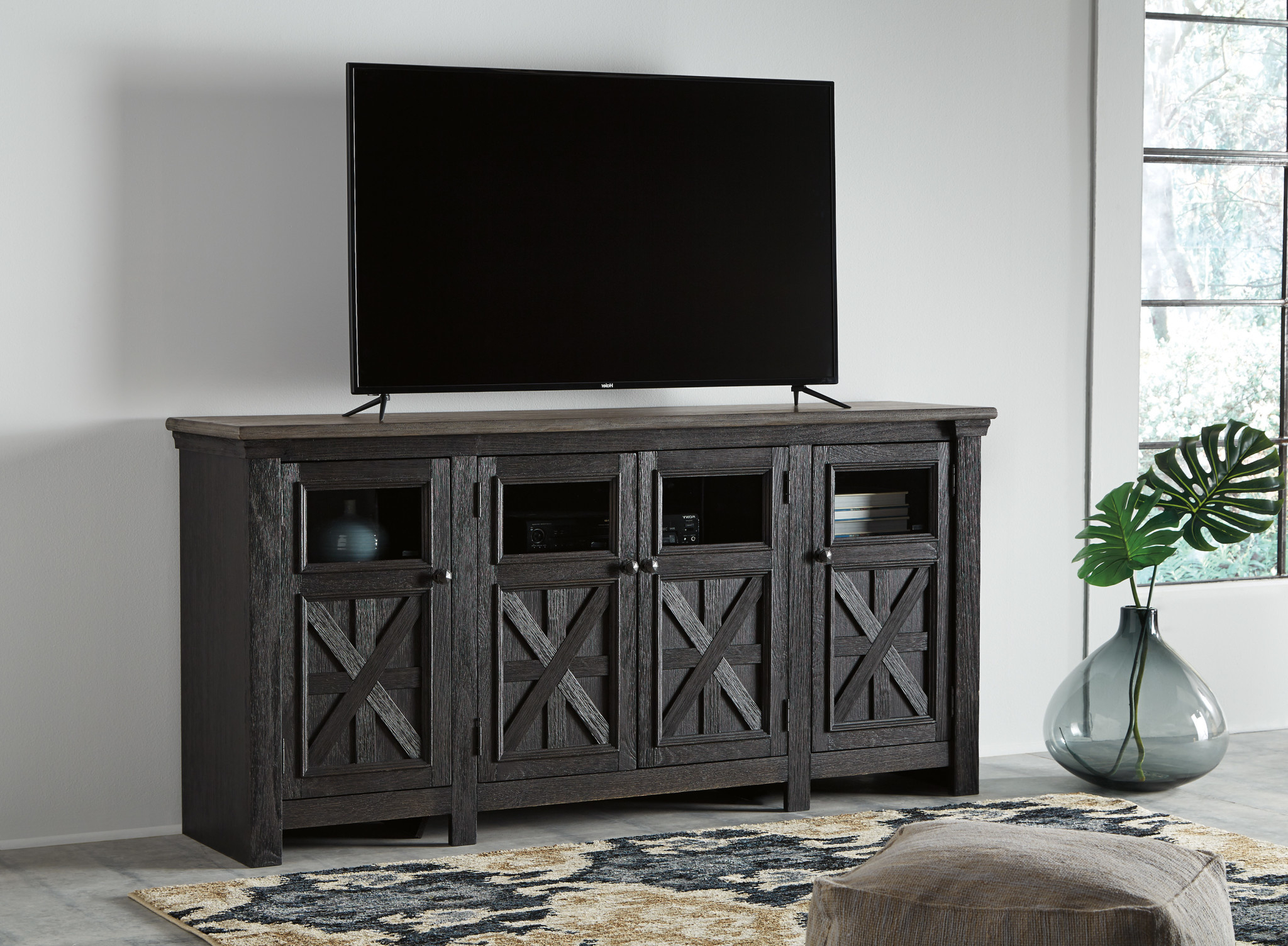 Delphi Grey Tv Stands Within Fashionable Extra Large Tv Stand, Tyler Creek, Black/gray, W736  (View 25 of 25)