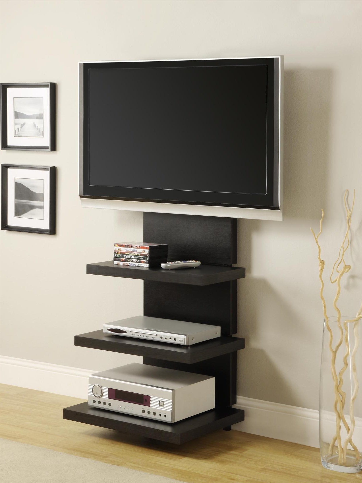 Dillon Black Tv Unit Stands In 2018 Wall Mount Tv Stand With 3 Shelves, Black, For Tvs Up To (View 1 of 10)