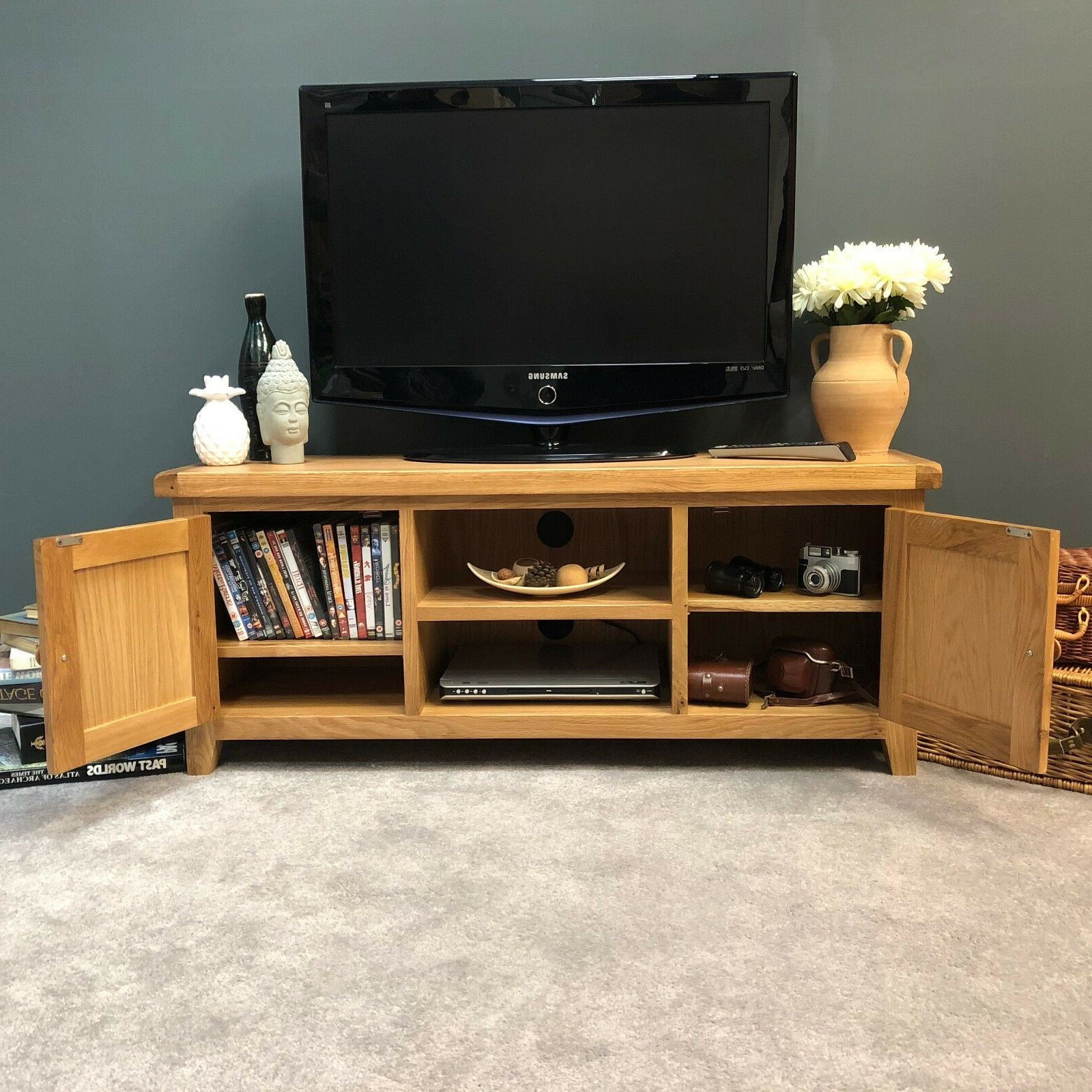 Dillon Oak Extra Wide Tv Stands Pertaining To Trendy Oak Tv Stand Solid Wood Large Television Unit With Chunky (View 1 of 10)