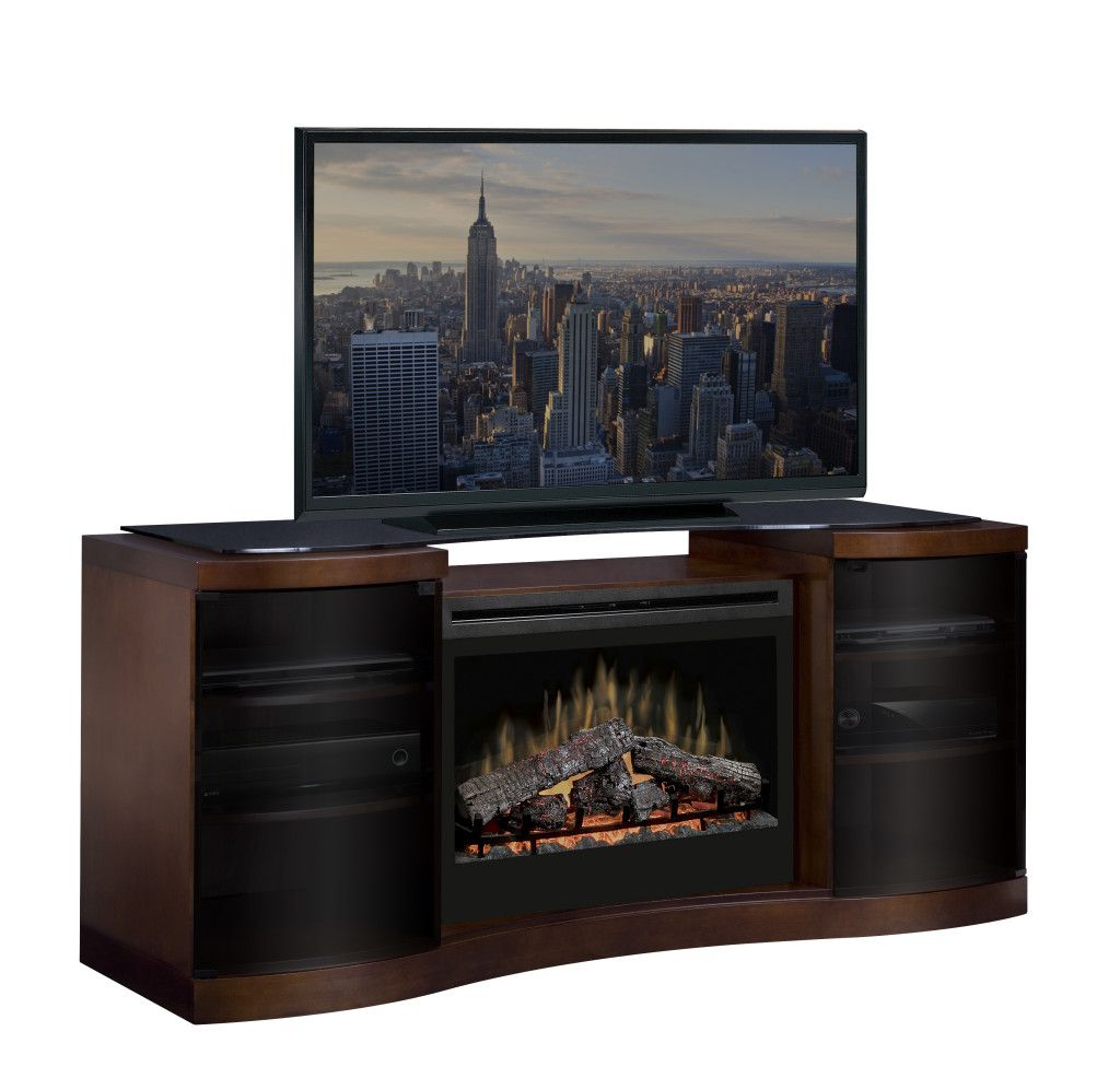 Dimplex Acton Media Console W/ Log Set – Barbecues Galore Inside Current Oakville Corner Tv Stands (View 7 of 10)
