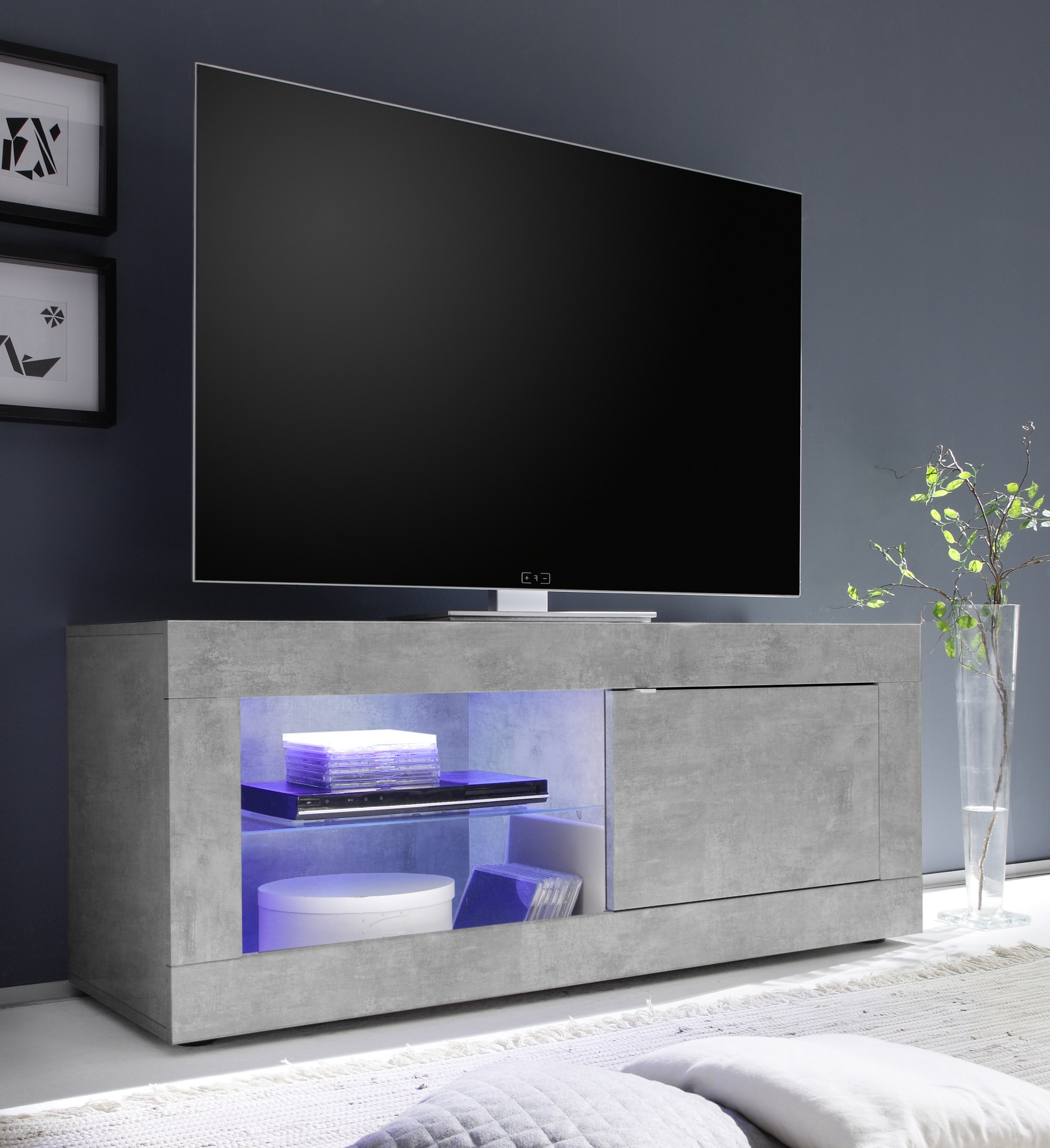 Dolcevita Concrete Finish Small Tv Stand – Tv Stands (4144 Throughout 2017 Tv Stands (View 11 of 16)